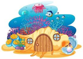 Shell house and sealife in underwater vector