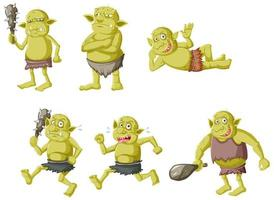 Set of green trolls in different poses  vector