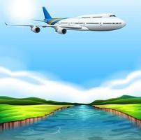 A passenger plane flying