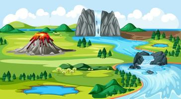 Meadow park and volcano with water fall  vector