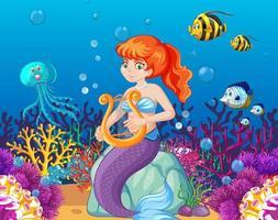 conjunto de animais marinhos e sereia