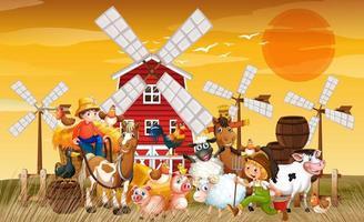 Farm in nature scene with windmill