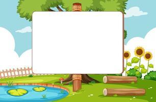 banner en blanco en la escena del parque natural