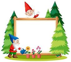Gnomes watering plant with blank banner  vector