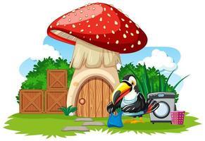 Mushroom house with cute bird