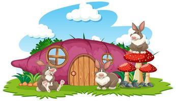 Taro house with three rabbits vector