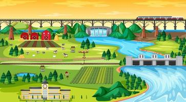 Farm field town and school and bridge sky train