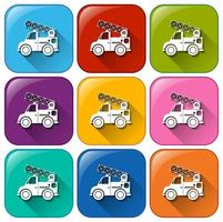 Buttons with mounting vehicles vector