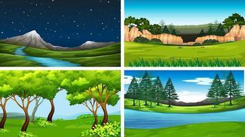 conjunto de escenas de la naturaleza diurna y nocturna.