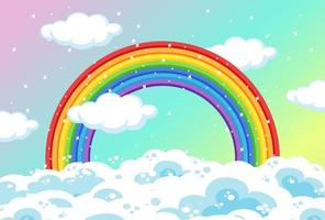 Rainbow with clouds and glitter on pastel sky vector