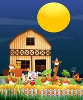 escena de la granja con granja de animales en la noche. vector