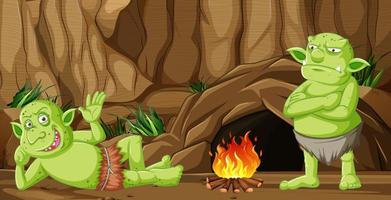 Goblins or trolls with cave house  vector