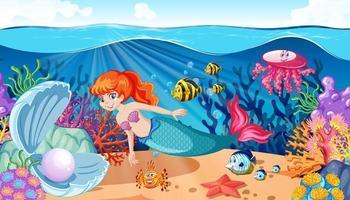 tema de sirena y animal marino vector