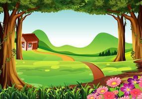 Escena de la granja en la naturaleza con un largo camino hasta la casa.