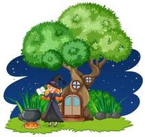 Witch standing beside tree house  vector