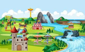 Amusement park with castle and many rides  vector
