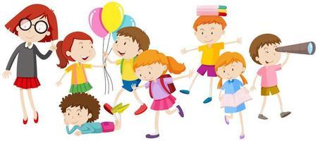 niños haciendo diferentes actividades. vector
