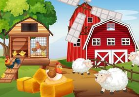 Escena de la granja en la naturaleza con granero y molino de viento. vector