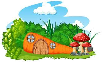 Carrot house with mushrooms vector