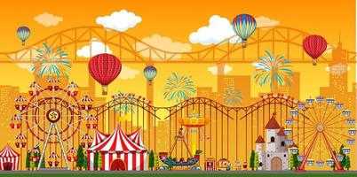 Amusement park scene at daytime with balloons  vector