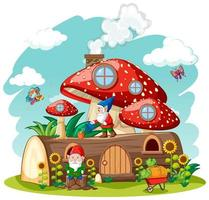 Gnomes and timber mushroom house and in the garden