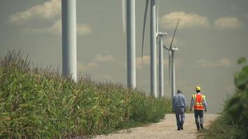 agricultor e ingeniero caminando cerca de molinos de viento, granja. video