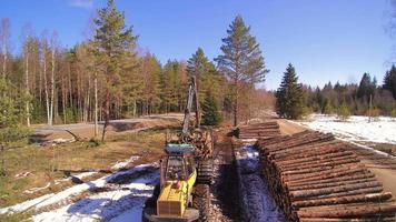 uma colheitadeira florestal itinerante na área video