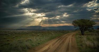 camino agrícola antes de la tormenta