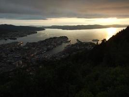 Midnight sun over Bergen photo