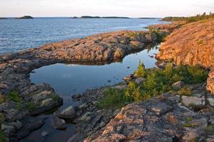 lago superior temprano en la mañana foto