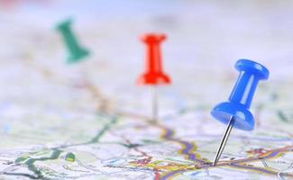 pushpin on map photo