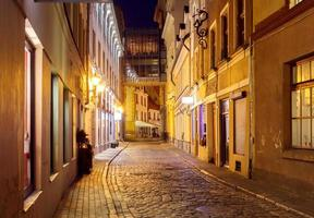 Riga. Old street at night