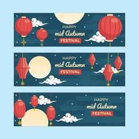 Mid Autumn Festival Banner With Full Moon Sky