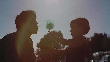 Slow motion of father and son playing with toy windmill video