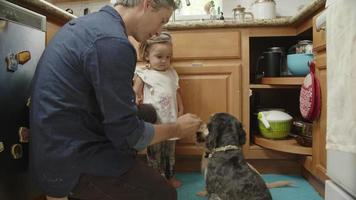 Slow motion of man feeding pet dogs in kitchen with daughter