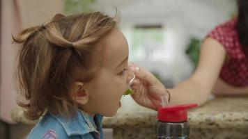 cámara lenta de la madre alimentando al niño pequeño video