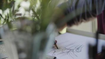 cámara lenta, de, joven, dibujo, imagen