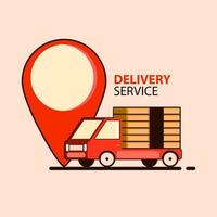 Food delivery concept in flat style with truck
