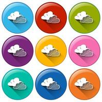Icons with clouds vector
