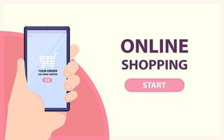Online shopping banner with hand holding phone  vector