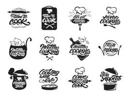 Cooking logos set