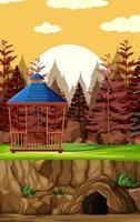 construcción de parque de animales en estilo de dibujos animados vector