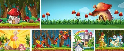 seis cenas diferentes do mundo de fantasia