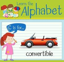 Flashcard letter C is for convertible design illustration vector