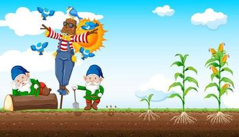 Gnomes and scarecrow cartoon style vector