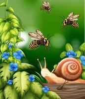 escena de la naturaleza con abejas y caracoles.