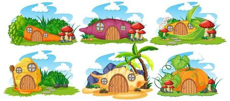 Set of fairy tale houses on white background