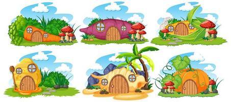 Conjunto de casas de cuento de hadas sobre fondo blanco. vector