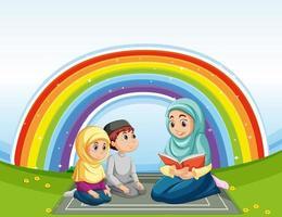 familia musulmana árabe en vestimentas tradicionales y arco iris