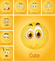 Set of different faces emoji on yellow background vector